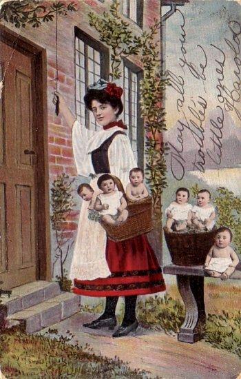 Delivering the Baby, Multiple Babies 1906 Vintage Postcard - 4799