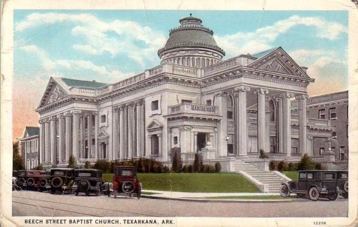 Beech Street Baptist Church in Texarkana Arkansas AR Curt Teich Postcard - 4815