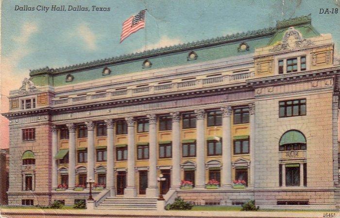 Dallas City Hall in Texas TX, Mid Century Linen Postcard - 4857