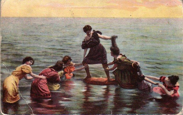 Bathing Beauties Playing Tug of War in Water Vintage Postcard - 4877