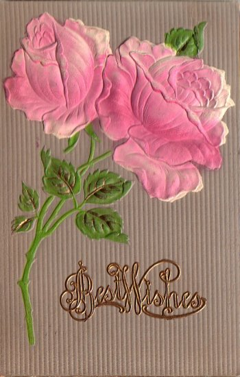 Bas Relief Pink Roses Best Wishes 1909 Vintage Postcard - 4894