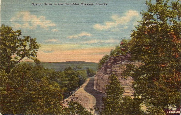 Scenic Drive in Beautiful Missouri Ozarks 1942 Curt Teich Linen Postcard - 4895