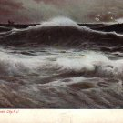 Surf Scene at Atlantic City New Jersey NJ Vintage Postcard - 4920