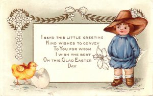 Boy with Chick Easter Greetings Whitney Made Vintage Postcard - 4932