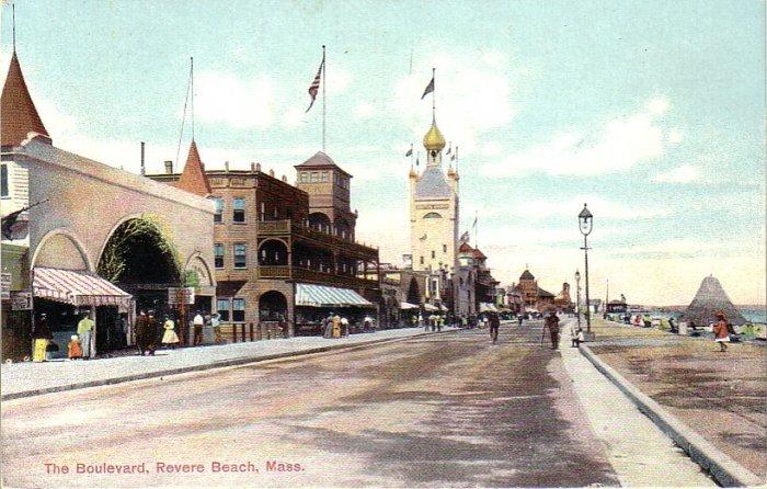 The Boulevard at Revere Beach Massachusetts MA Vintage Postcard - 4935