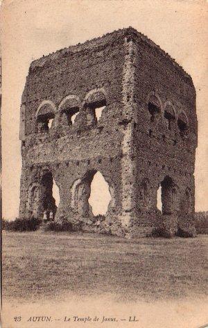 Le Temple de Janus in Autun France Vintage Postcard - 4937
