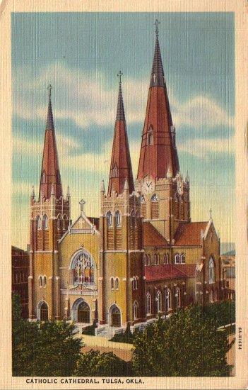 Catholic Cathedral in Tulsa Oklahoma OK 1936 Curt Teich Linen Postcard - 4952