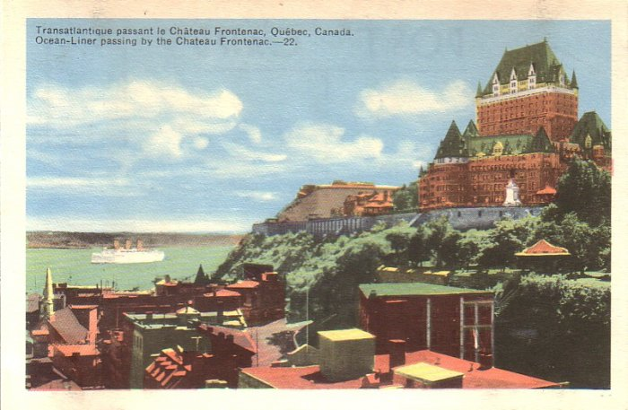 Ocean Liner Passing the Chateau Frontenac in Quebec Canada - 4958