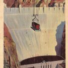 Lowering Loaded Box Card at Boulder Dam in Nevada NV Linen Postcard - 4960