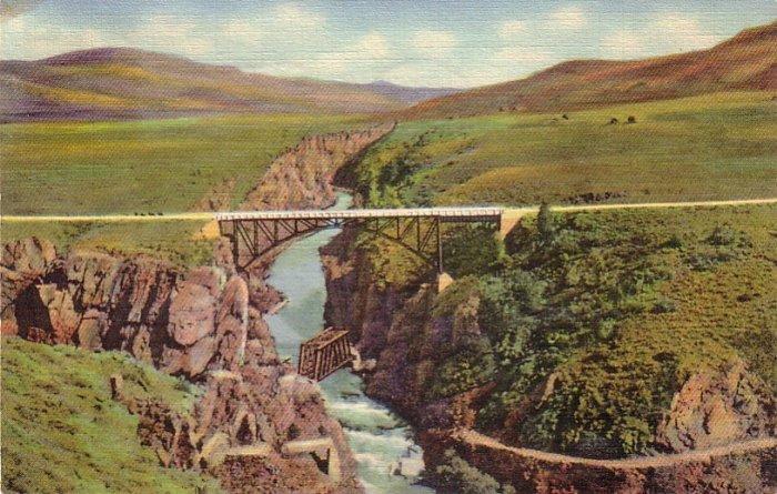 Sapinero Bridge over Gunnison River near Gunnison Colorado CO Curt Teich Linen Postcard - 4993