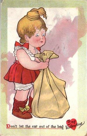 Don't Let the Cat out of the Bag, Raphael Tuck Valentine Vintage Postcard - 4996
