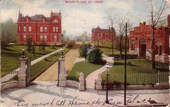 Busch Place in St. Louis Missouri MO 1908 Postcard - 4991