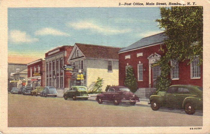 Post Office on Main Street in Hamburg New York NY 1946 Linen Postcard - 5002