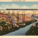 Pecos High Bridge Between El Paso and San Antonio Texas TX Linen Postcard - 5003