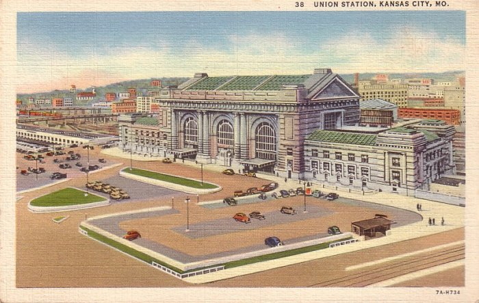 Union Station at Kansas City Missouri MO 1937 Curt Teich Postcard - 5014