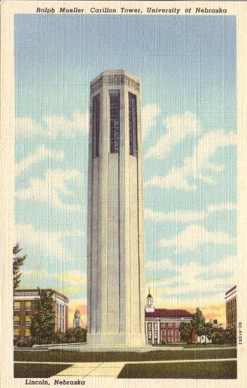 Carillon Tower University of Nebraska in Lincoln NE 1950 Curt Teich Postcard - 5016