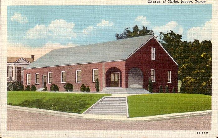 Church of Christ in Jasper Texas TX 1941 Curt Teich Linen Postcard - 5030