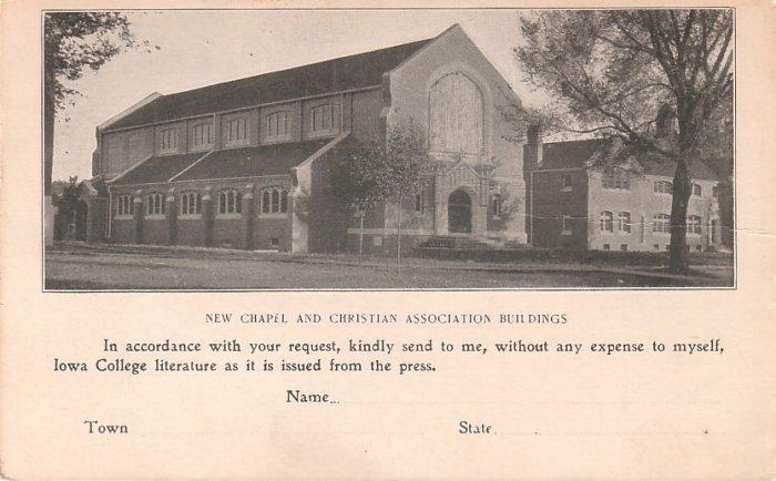 Iowa College Grinnell IA Literature Request Advertising Postcard - 5039