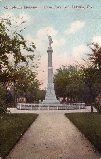 Confederate Monument Travis Park San Antonio Texas TX Vintage Postcard - 5042
