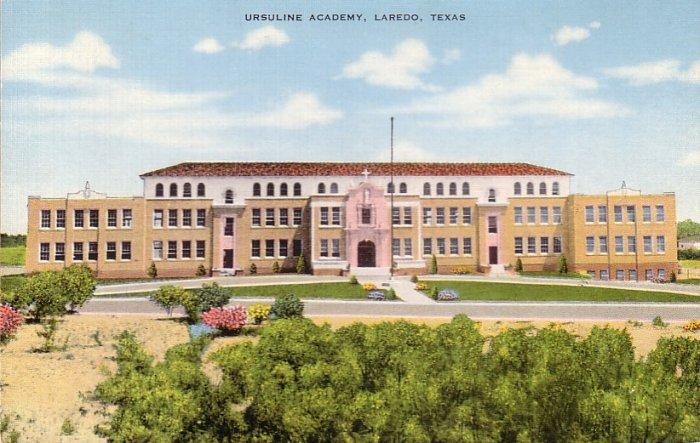 Ursuline Academy Laredo Texas TX Mid Century Linen Postcard - 5044