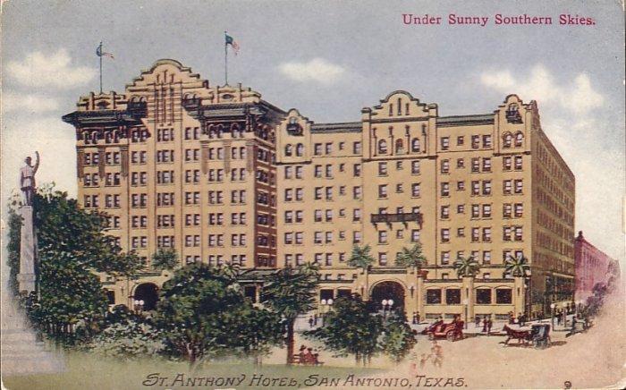 St. Anthony Hotel San Antonio Texas TX Vintage Postcard - 5045