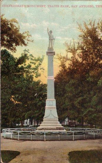 Confederate Monument in San Antonio Texas TX 1909 Vintage Postcard - 5047