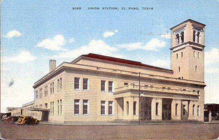 Union Station El Paso Texas TX 1945 Linen Postcard - 5049
