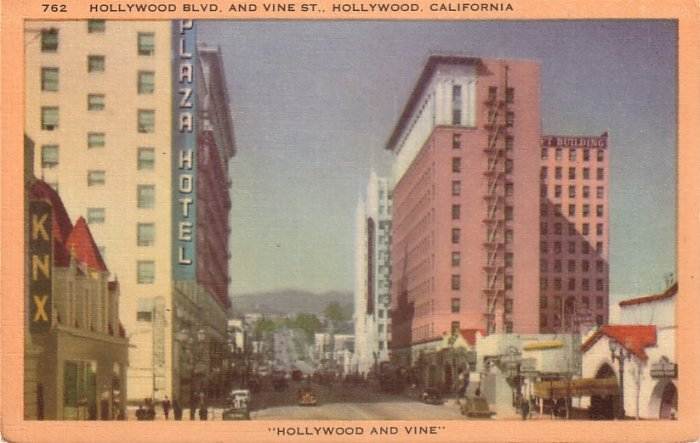 Hollywood and Vine California CA Mid Century Linen Postcard - 5054