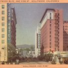 Hollywood and Vine California CA Mid Century Linen Postcard - 5054