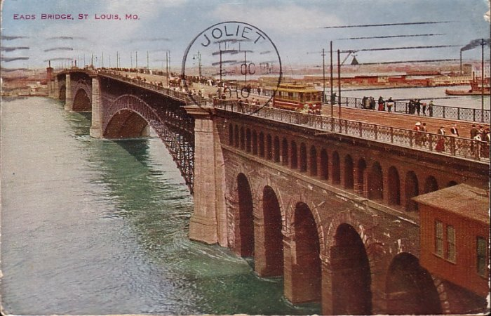 Eads Bridge Crossing the Mississippi St. Louis Missouri MO 1910 Vintage Postcard - 5062