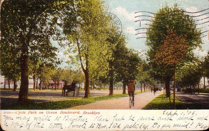Bicycle Path on Ocean Boulevard in Brooklyn New York NY 1906 Vintage Postcard - 5066