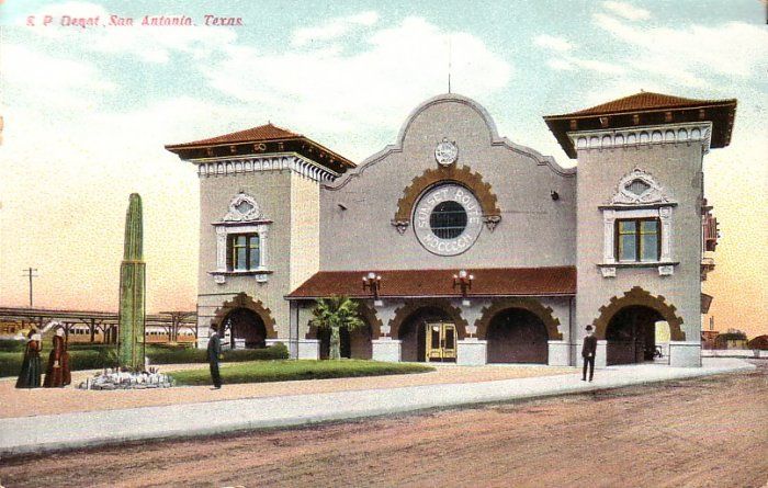 S.P. Rail Depot in San Antonio Texas TX Vintage Postcard - 5068