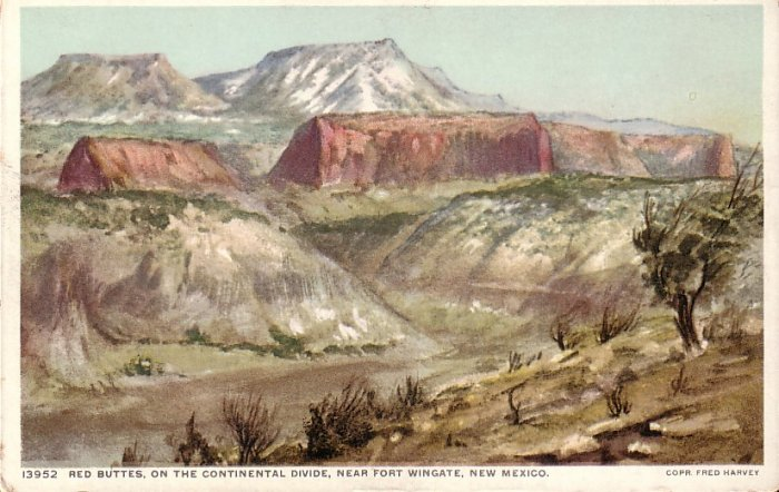 Red Buttes on Continental Divide, New Mexico NM Vintage Postcard - 5070