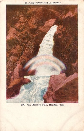 The Rainbow Falls at Manitou Colorado CO Vintage Postcard - 5080