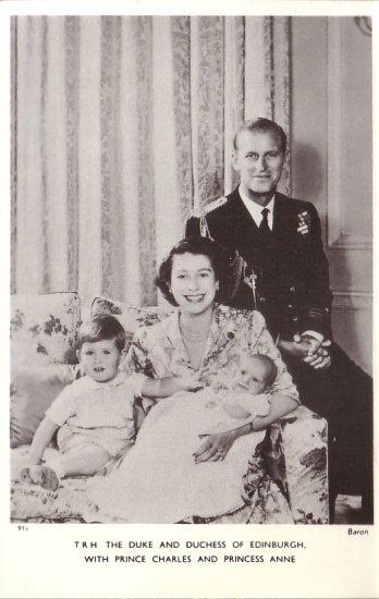 Duke and Duchess of Edinburgh with Prince Charles Princess Anne Postcard - 5088