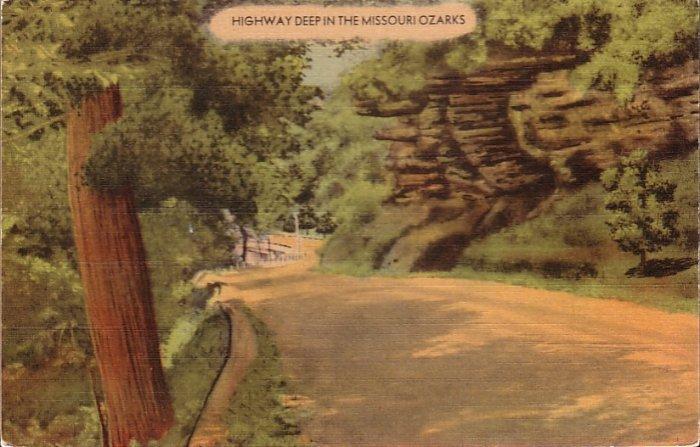 Highway Deep in the Missouri Ozarks Mid Century Linen Postcard - 5094