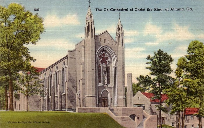 The Co-Cathedral of Christ the King at Atlanta Georgia GA Linen Postcard - 5115