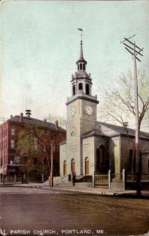 Parish Church in Portland Maine ME Vintage Postcard - 5120