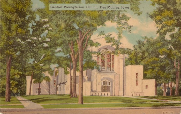 Central Prersbyterian Church Des Moines Iowa IA 1945 Postcard - 5122