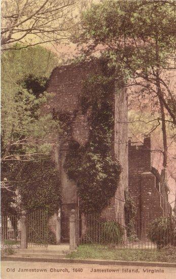 Old Jamestown Church at Jamestown Island Virginia VA Hand Colored Postcard - 5124