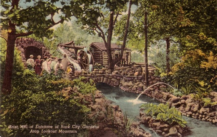 Grist Mill at Entrance of Rock City Gardens Tennessee TN Postcard - 5133