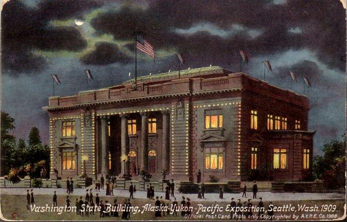 Washington State Building at AYPE 1909 Exposition Vintage Postcard - 5135