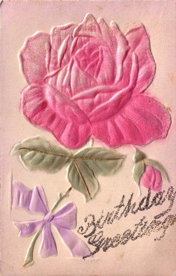 Birthday Greetings with Applique Silk Rose Vintage Postcard - 5150
