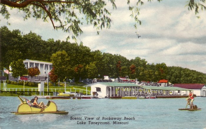 Scenic View of Rockaway Beach on Lake Taneycomo Missouri MO 1950 Postcard - 5151