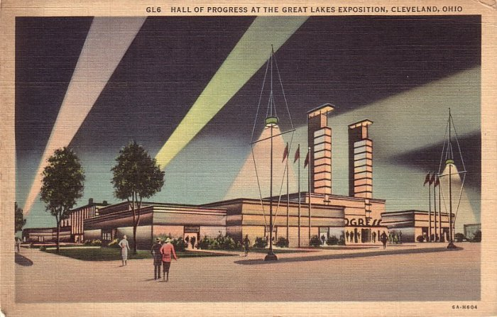 Hall of Progress at Great Lakes Exposition in Cleveland Ohio OH Postcard - 5153