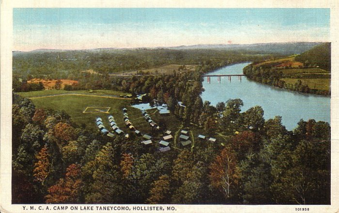 YMCA Camp on Lake Taneycomo Hollister Missouri MO Postcard - 5162