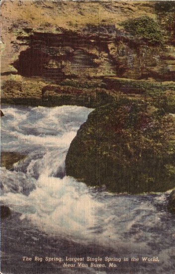 The Big Spring near Van Buren Missouri MO Curt Teich Linen Postcard - 5163
