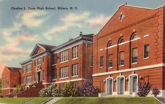 Charles L Coon High School Wilson North Carolina NC Linen Postcard - 5169