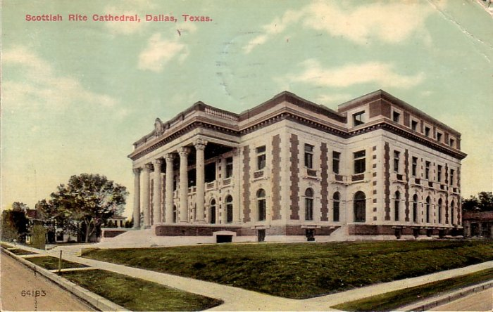 Scottish Rite Cathedral in Dallas Texas TX 1912 Vintage Postcard - 5174