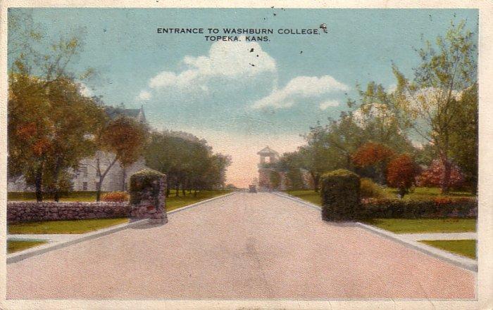 Entrance to Washburn College in Topeka Kansas KS Vintage Postcard - 5205